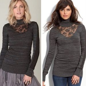FREE PEOPLE Turtleneck Lace Sweater Top Charcoal